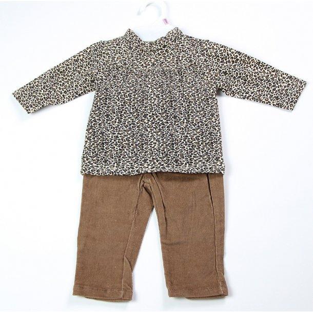 2-delt sæt - bluse med dyreprint og fløjlsbukser