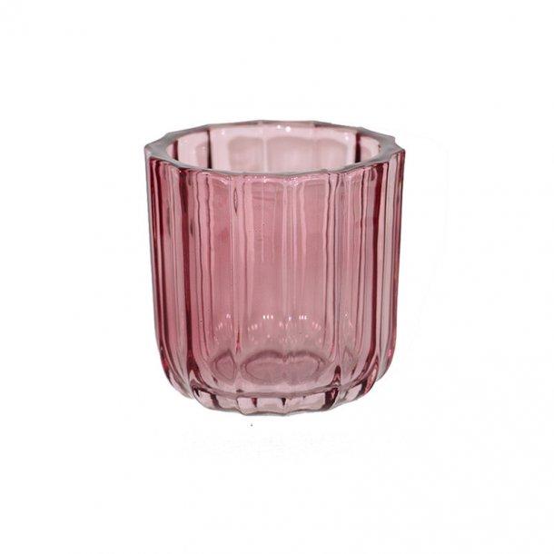 Lysestage i farvet glas - fyrfadsstage